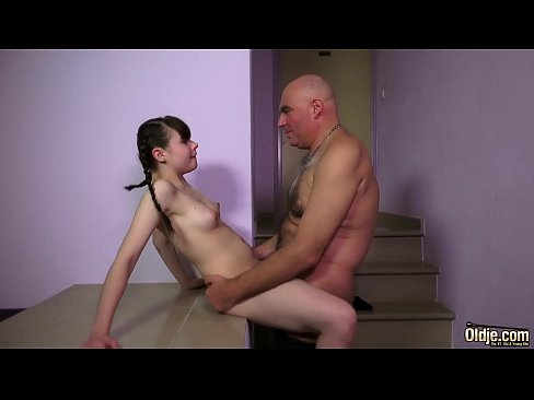 This Teen With Hairy Pussy Gets Super Fucked By A Creepy Old Man